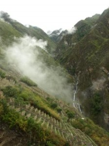 Mist rises over the terraces of Choquequirao, Peru. Photograph: Matthew Barker 2010