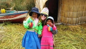 "Check out Kelsey at Lake Titicaca engaging in a cultural exchange. We give this photo a ""thumbs up""!"