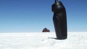 On the Uyuni Salt Flat with two trusted companions, the water bottle and the 4X4 Jeep. The salt flat is a great place for optical illusions with the camera