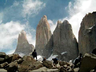 The name of Torres del Paine National Park refers to three tower-like granite monoliths, one of the most visited attractions within the park. 