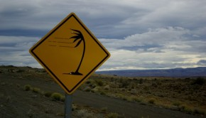 sign warning about windy Patagonia conditions