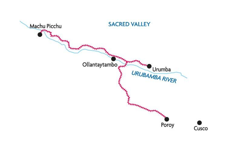 map of the train tracks between Cusco and Machu Picchu