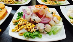 Peruvian style ceviche, comote, and canchita