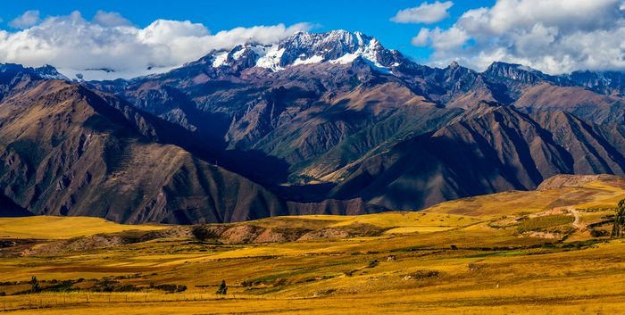 beautiful mountain landscape of the sacred valley in Peru