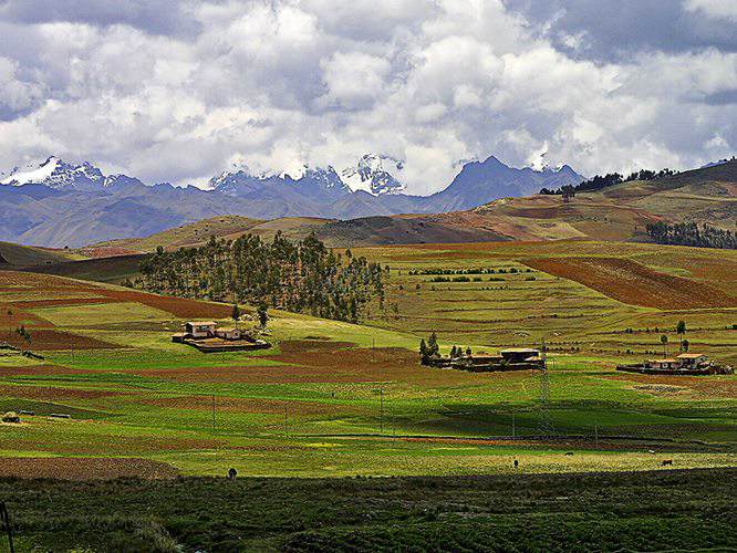fertile green lands of the Sacred Valley in Peru