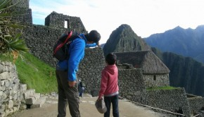 father and son at Machu Picchu