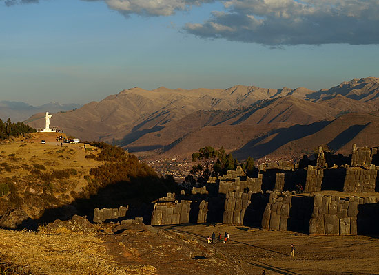 The view of Cristo Blanco from Sacsayhuaman, Peru