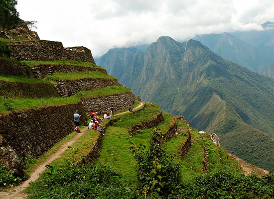 Hikers enjoying the views on the Inca Trail