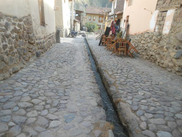 Original Inca canals in Ollantaytambo