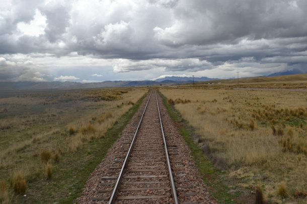 Railroad running through the plains of the Sacred Valley