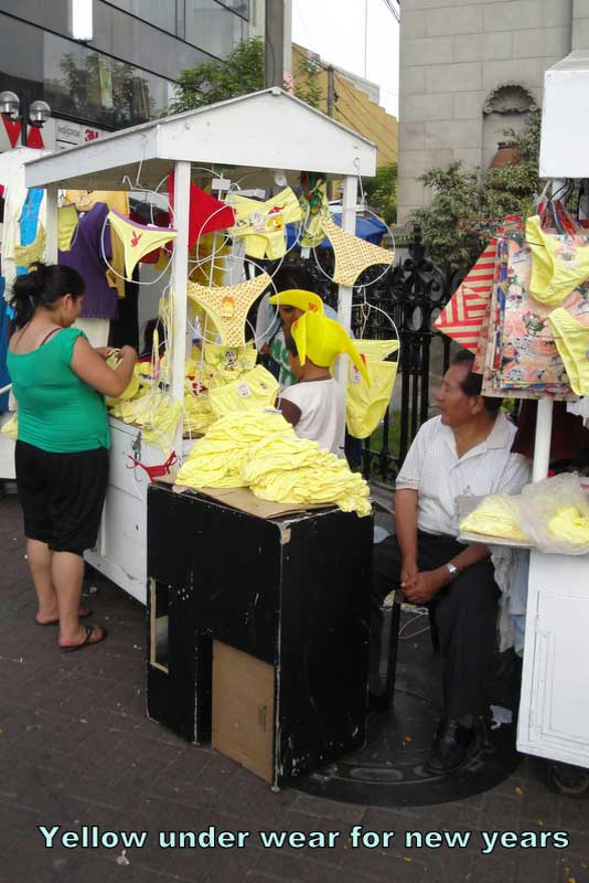 Yellow underwear sold on the streets of Lima for New Years