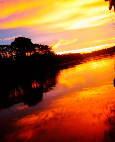 Sunset on the Amazon River