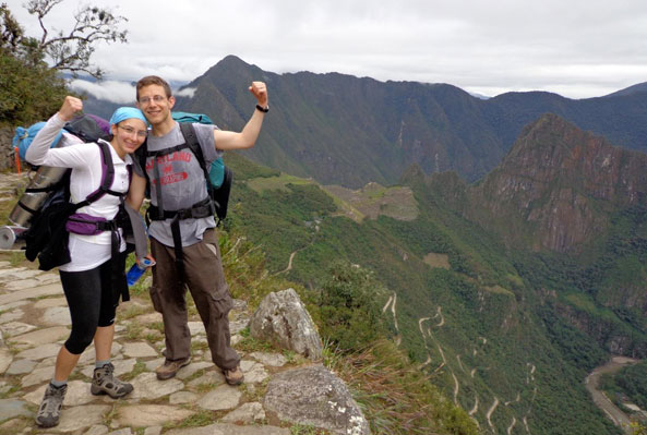 honeymooners hiking the Inca Trail to Machu Picchu
