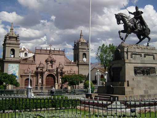 The Ayacucho Plaza de Armas, with a monument to Mariscal Sucre, an important independence leader.