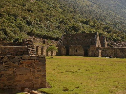 Stone buildings at the Inca ruins of Choquequirao, only reachable by a 4-day hike.