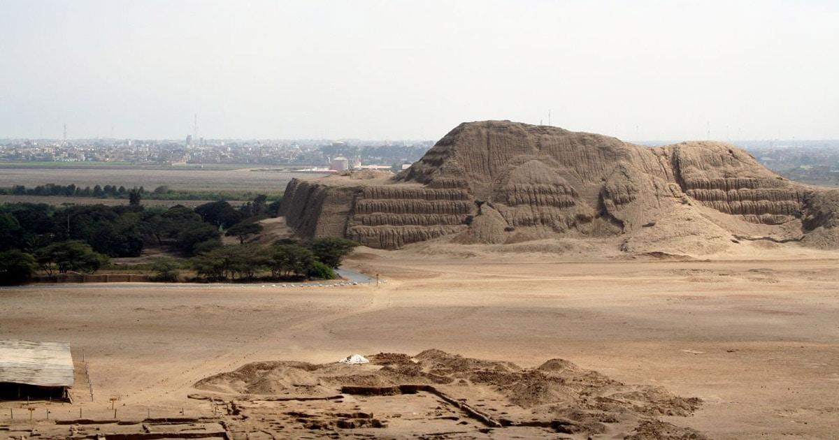 The Huaca del Sol, an adobe pyramid built by the Moche civilization near present-day Trujillo.