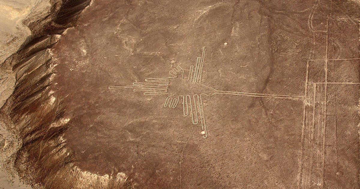 The Hummingbird, one of the most recognizable geoglyphs found among the enigmatic Nazca Lines.