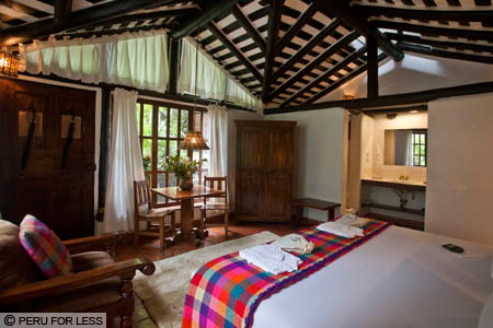A beautiful and spacious room at Inkaterra El Pueblo, a top-rated Machu Picchu hotel.