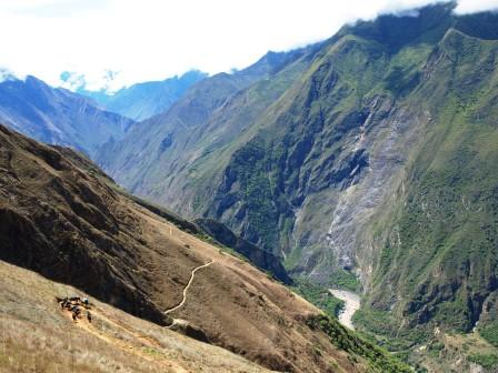 The trail to Choquequirao leads from the mountains towards the jungle below. Photograph: Matthew Barker 2010