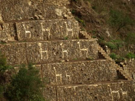 Llama rock work on the terraces of Choquequirao, Peru. Photograph: Matthew Barker 2010