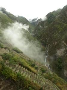 Mist rises over the terraces of Choquequirao, Peru. Photograph: Matthew Barker 2010