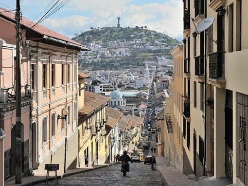 View of Calle Garcia Moreno in Quito, Ecuador.