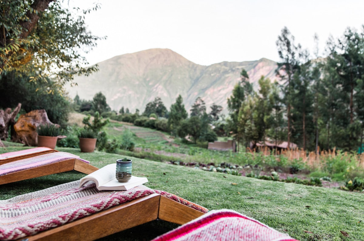 Beautiful views of the valley from lounges at Hacienda Urubamba, one of the best spa resorts in Peru.