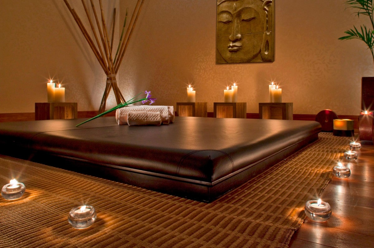 Candlelit massage treatment room at Heavenly Spa in Lima Peru