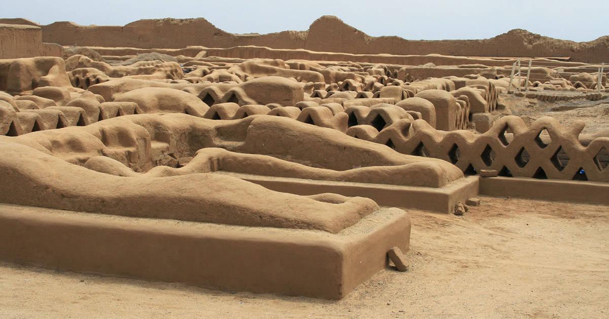 The adobe ruins of Chan Chan built by the Chimu culture, major pre-Incan civilization in Peru.