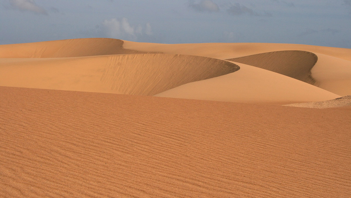 Rolling orange sand dunes under gray skies in the Médanos de Coro Desert in South America.