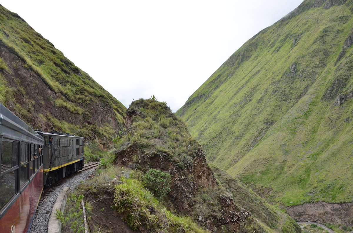The Devil's Nose train in Ecuador running on a train track connecting Riobamba with Alausi.