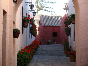 A street inside the walls of Santa Catalina Monastery, offering a glimpse into the past of this richly historical city.