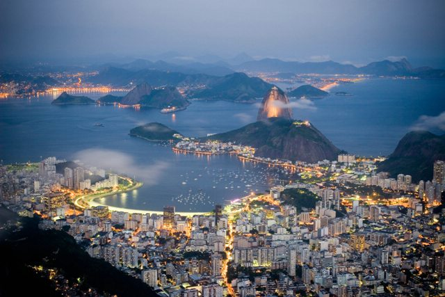 The beautiful Rio skyline at nightfall.
