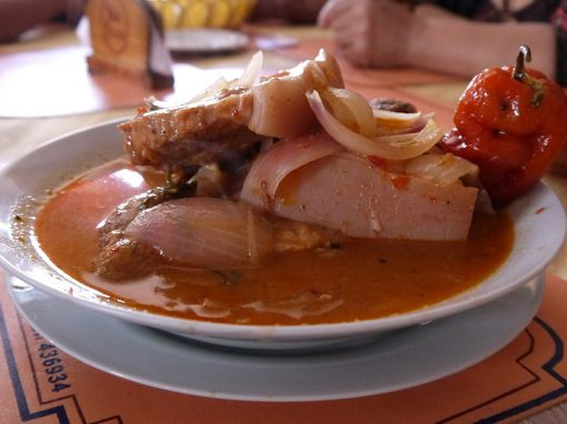 A traditional soup in Arequipa featuring meat, onions and a spicy rocoto pepper.