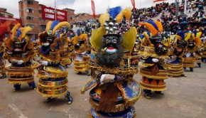 "Dancers performing ""La Morenada"" or ""Dance of the Black Slaves"""