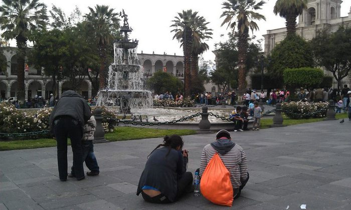 Mark captured this photo of the Plaza de Armas before heading out on his walking tour of Arequipa city.