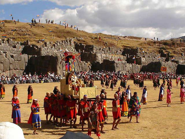 The huge stones of Sacsayhuaman, some weighing several tons, serve as the backdrop for the final rituals of the Inti Raymi festival.