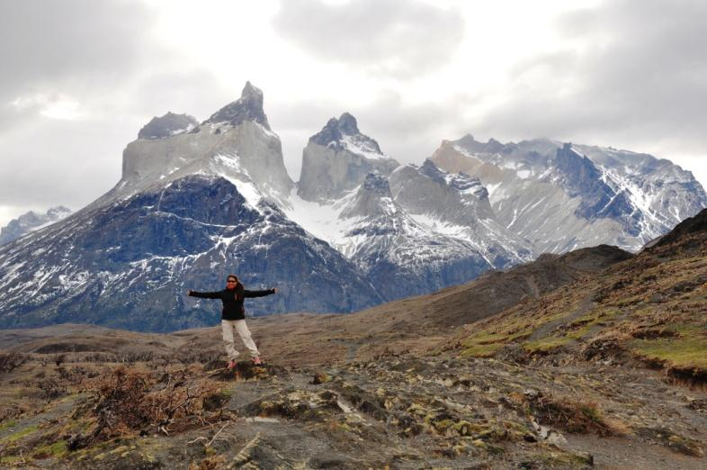 Silvana enjoying Torres del Paine National Park, Patagonia, Chile