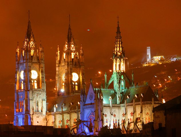 The Basilica del Voto Nacional in Quito is the largest neogothic basilica in the Americas. Day and night, the basilica's spires are a distinctive feature of the Quito skyline.