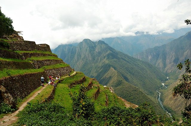 Ancient Inca ruins along the Inca Trail in Peru