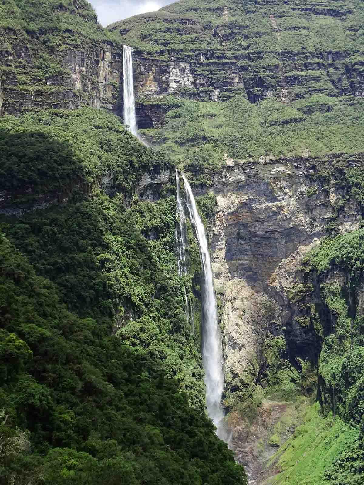 Two drops of one waterfall, the Gocta Waterfall, in Peru.