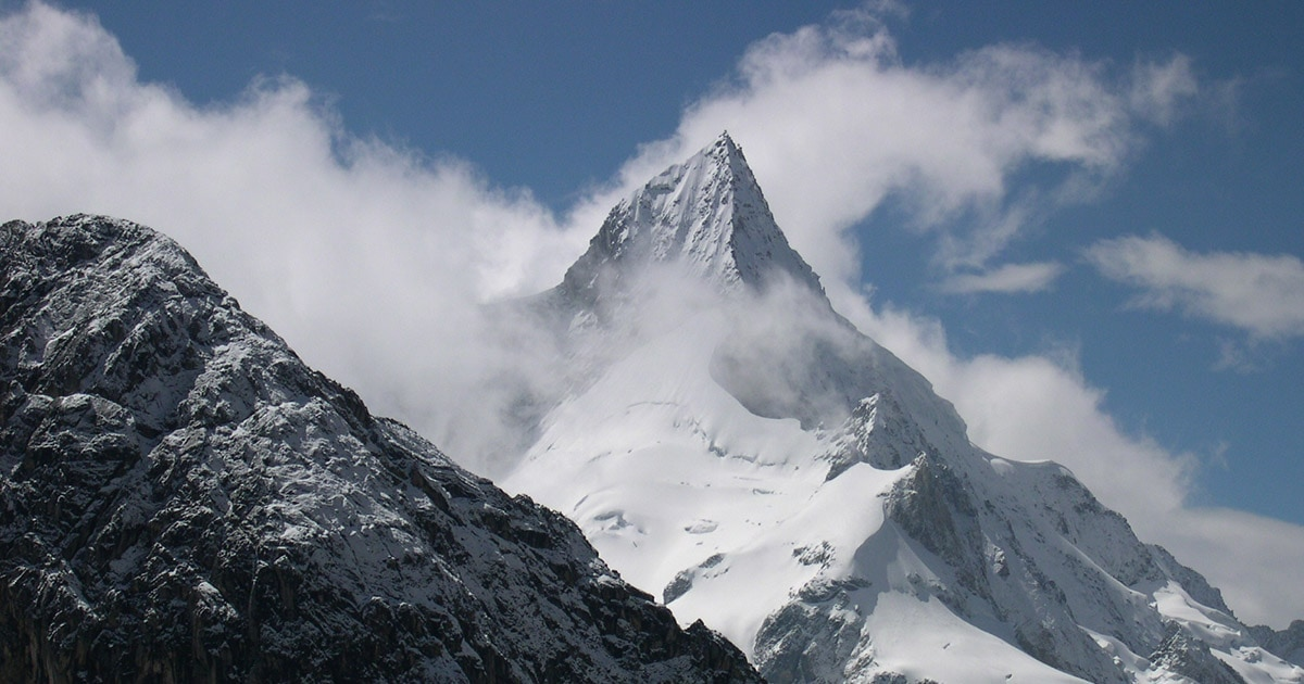 The impressive snow-capped peak of Pariacaca, located on the border between Lima and Junín.