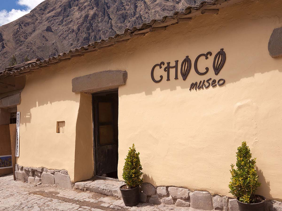Entry to ChocoMuseo in the town of Ollantaytambo in the Sacred Valley of the Inca