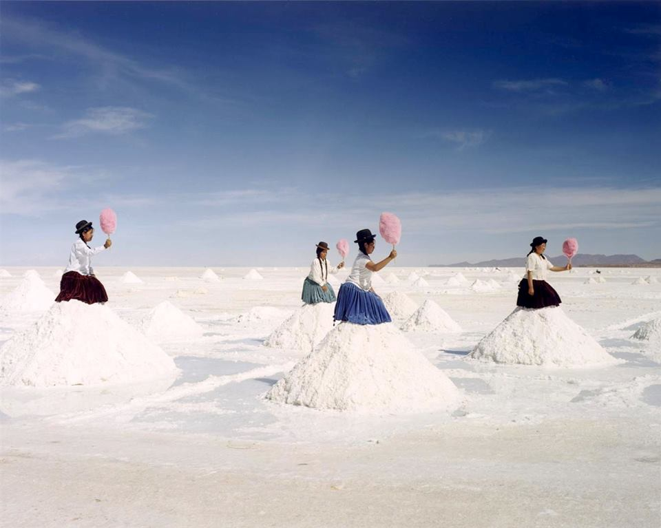 Imagine the world´s largest Salt Flats in Uyuni, Bolivia. Cotton Candy sitting on little piles of salt.