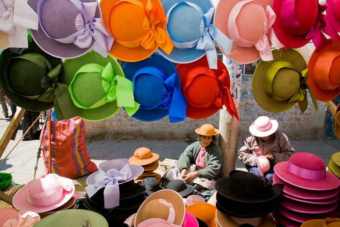 The abundance of bright colors in South America is reflected in this Peruvian market. Photo by Tom Robinson