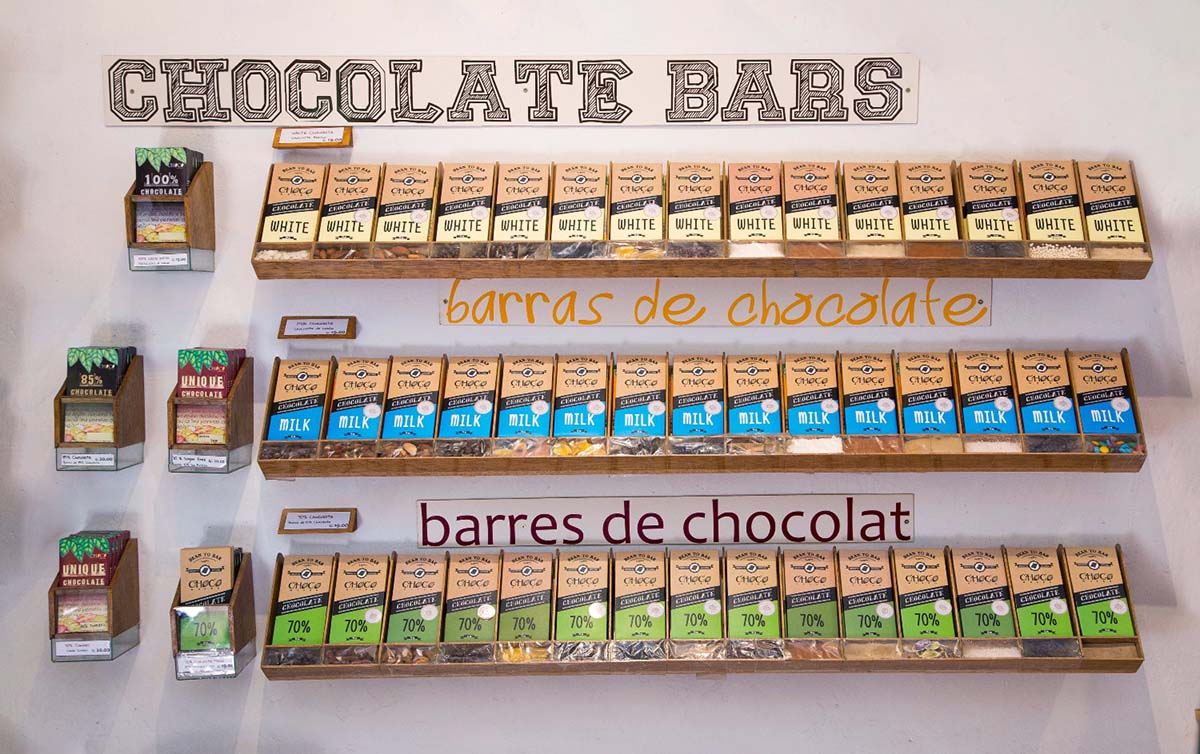 White, milk and dark chocolate bars for sale in the gift shop of ChocoMuseo, a chocolate museum in Peru