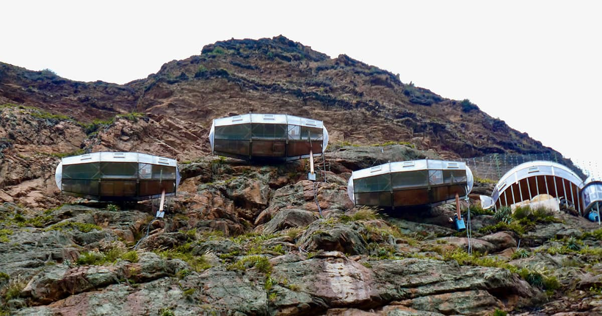 Cliffside pods at Skylodge Adventure Suites, a one-of-a-kind hotel in Peru's Sacred Valley.