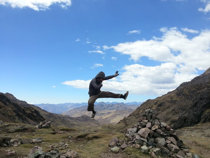 Jumping in Lares Trek - Peru