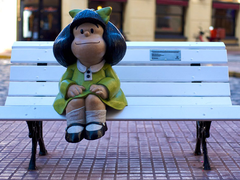 A Mafalda statue on a bench in Buenos Aires.