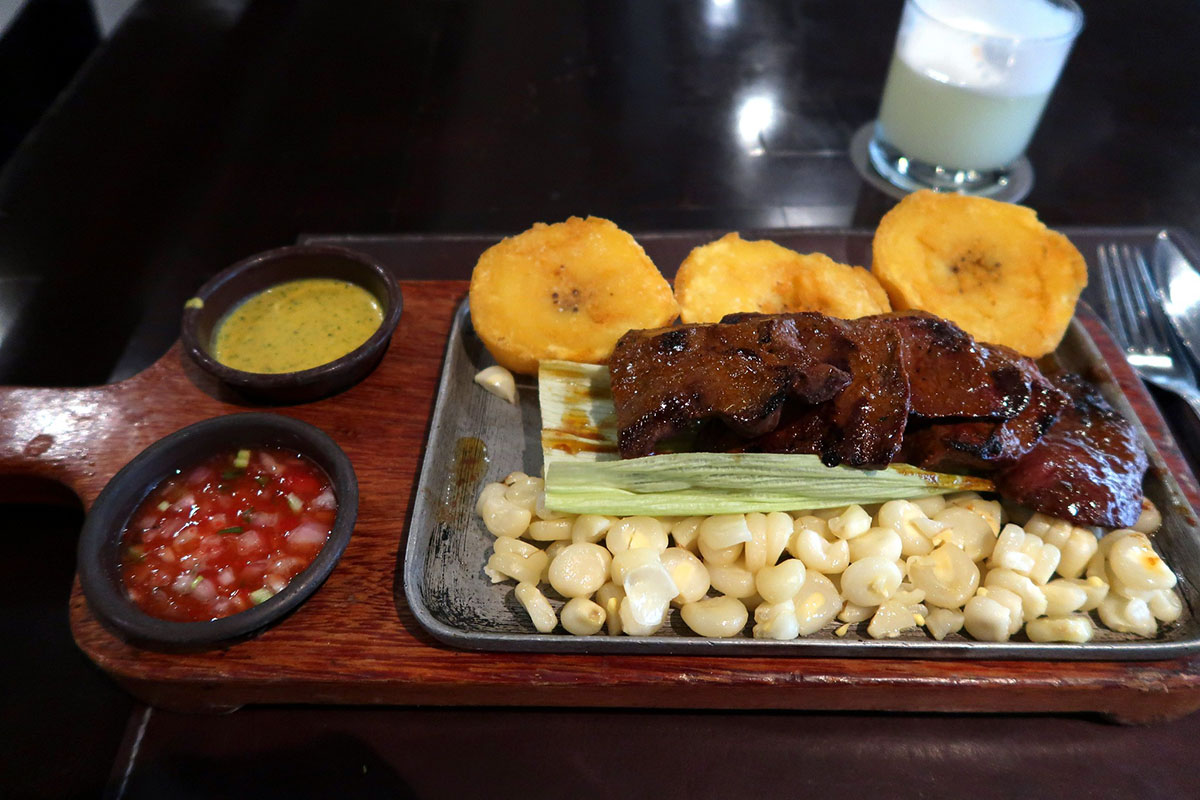A top Peruvian street food, anticuchos are beef heart kebabs.